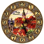 Cesky Krumlov Castle wooden painted clock