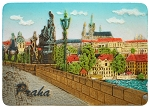 Prague Bridge & Castle Skyline ceramic magnet