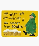 Prague Beer Drinking Bill ceramic magnet