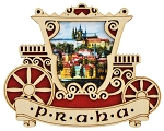 Prague Fiakre & Castle wooden picture magnet