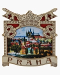Prague Keys & Castle wooden picture magnet
