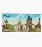 Prague Bridge & Old Town Panorama ceramic magnet