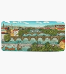 Prague Bridges Panorama ceramic magnet