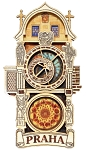 Prague Astronomical Clock wooden magnet - full tower