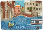 Venezia Side Canal & Bridge ceramic magnet