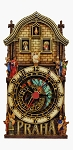 Prague Astronomical Clock painted wooden clock - half tower