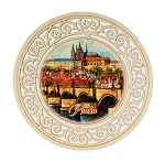Prague sights round wooden beer mats