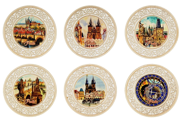 Prague Sights round wooden beer coasters