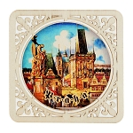 Prague sights square wooden beer mats