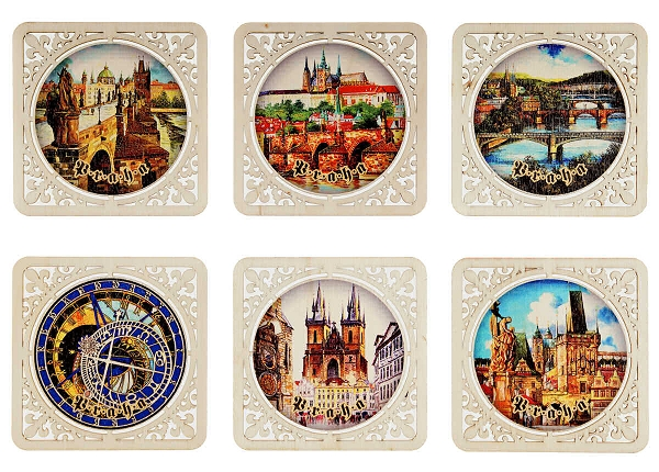 Prague Sights square wooden beer coasters