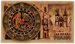 Prague Old Town Square wooden picture clock