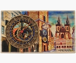 Prague Old Town Square large wooden picture clock