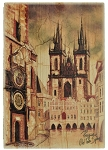 Prague Old Town Square wooden brown picture