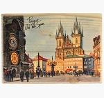 Prague Old Town Square wooden wide picture