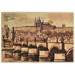 Prague Skyline small wooden brown picture