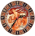 Alphonse Mucha Dance glossy painted clock