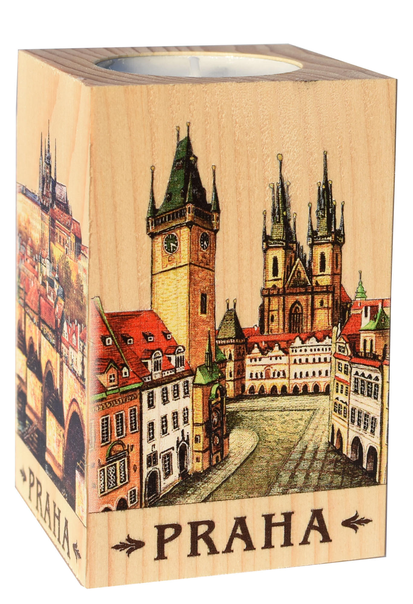 Wooden Picture Candlestick 6x9 Old Town Square