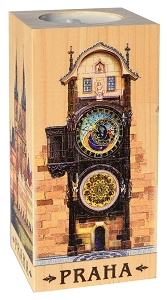 Wooden Candlestick 6x12 Prague Astronomical Clock