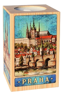 Wooden Picture Candlestick 6x9 Prague Skyline