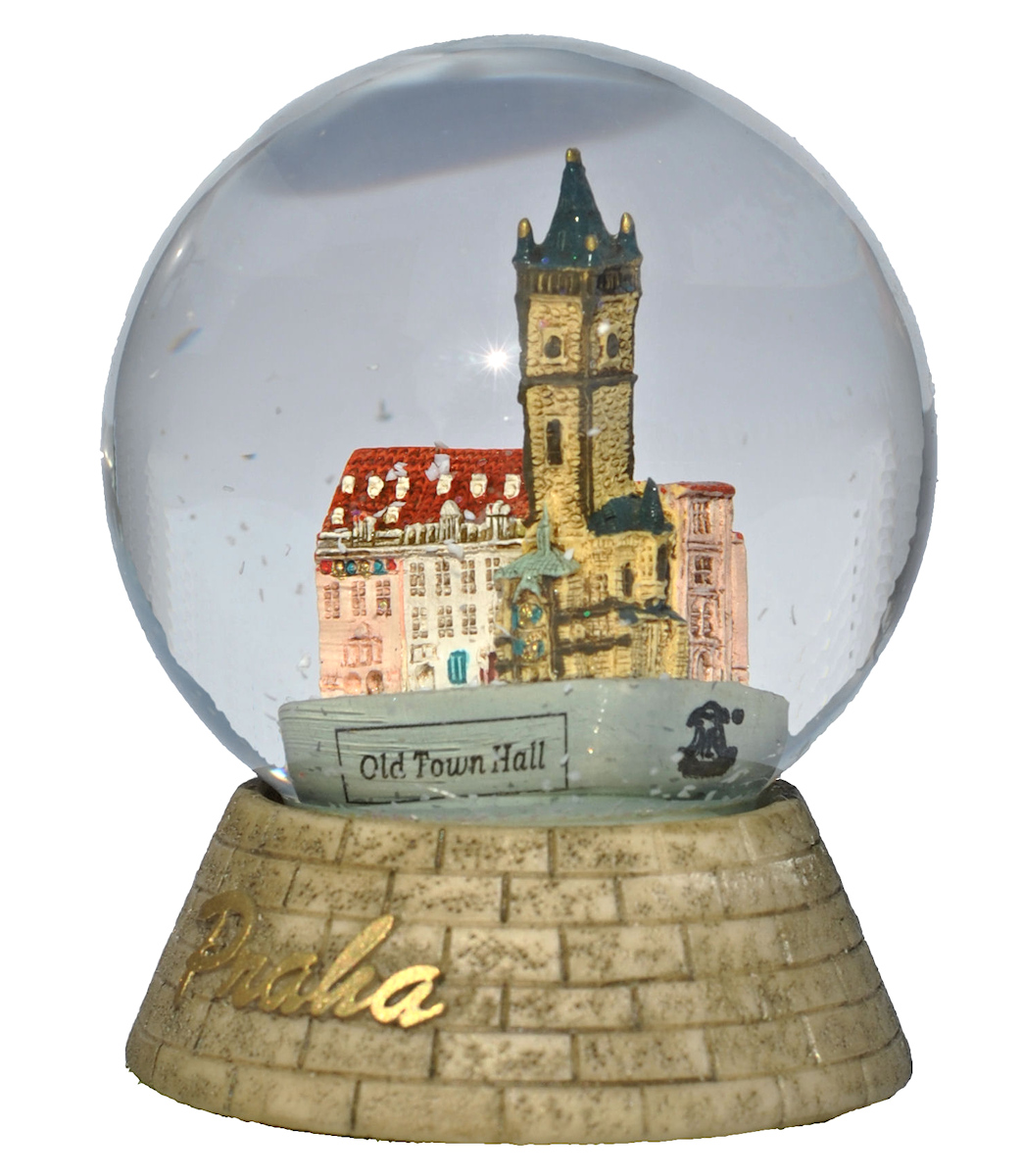 Prague Old Town Hall snow globe