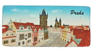 Prague Old Town Hall Panorama ceramic magnet