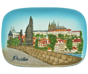 Prague Castle & Bridge ceramic picture