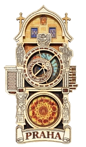 Prague Astronomical Clock cardboard magnet - full tower