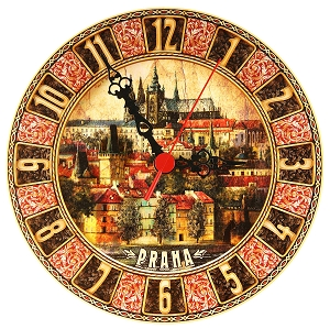 Prague Castle Lesser Town painted wooden clock