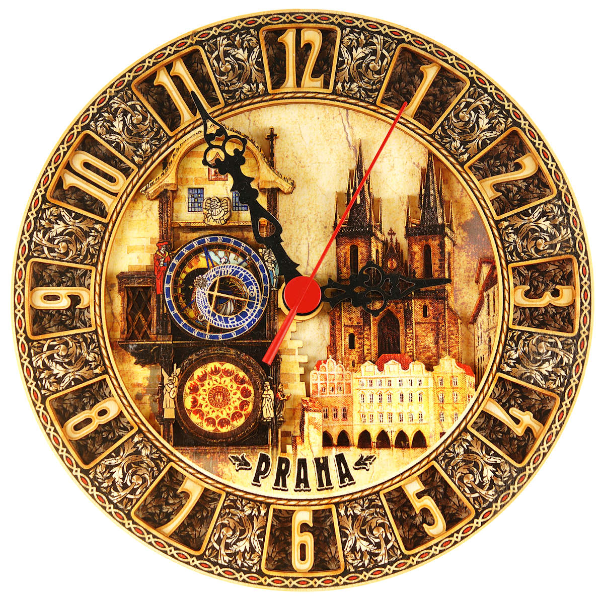 Prague Old Town Square painted wooden clock
