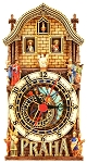 Prague Astronomical Painted Wooden Clock - Half Tower