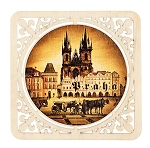 Prague sights brown square wooden beer mats