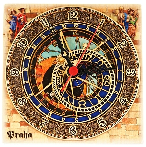 Prague Astronomical Square Wooden Clock