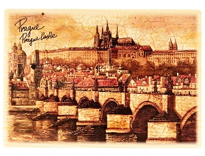 Prague Skyline wooden brown picture