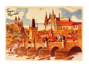 Prague Skyline wooden picture