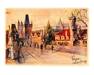 Prague Charles Bridge wooden picture