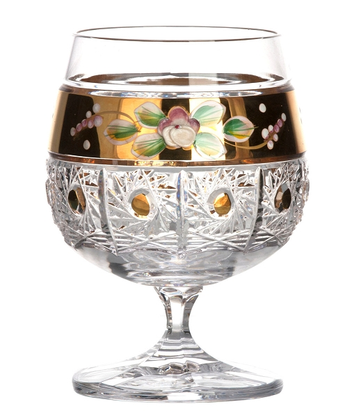 Bohemia Crystal Brandy Glass Tradition with Gold & Enamel