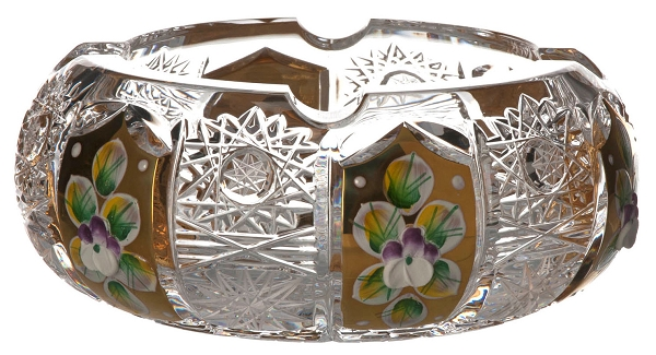 Bohemia Crystal Glass Ashtray Tradition with Gold & Enamel