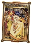 Alphonse Mucha Princess Hyacinth painted wooden magnet