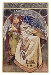 Alphonse Mucha Princess Hyacinth wooden picture postcard