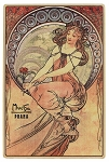 Alphonse Mucha Painting wooden picture postcard