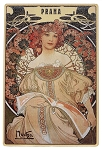 Alphonse Mucha Reverie wooden picture postcard