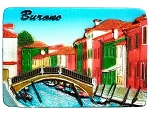 Burano Street Bridge ceramic magnet