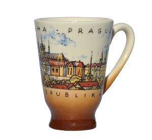 Set of six ceramic shots Prague Skyline