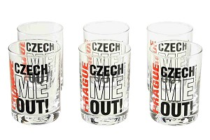 Set of six Prague Czech Me Out! liquor glasses