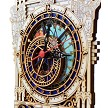 Prague Astronomical Clock wooden clock half tower - detail of the 3D structure