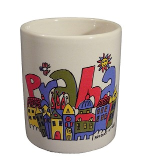 Painted ceramic mug Prague Old Town Square