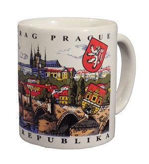 Prague Castle & Bridge painted coffee mug