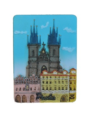 Ceramic embossed magnet Prague Tyn Church