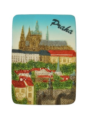 Ceramic embossed magnet Prague Castle & Lesser Town