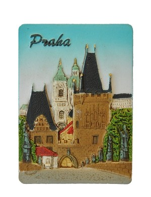 Ceramic embossed magnet Prague Charles Bridge & Lesser Town